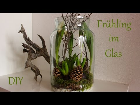 diy fr hling im glas fr hlingsdeko mit naturmaterialien just deko. Black Bedroom Furniture Sets. Home Design Ideas