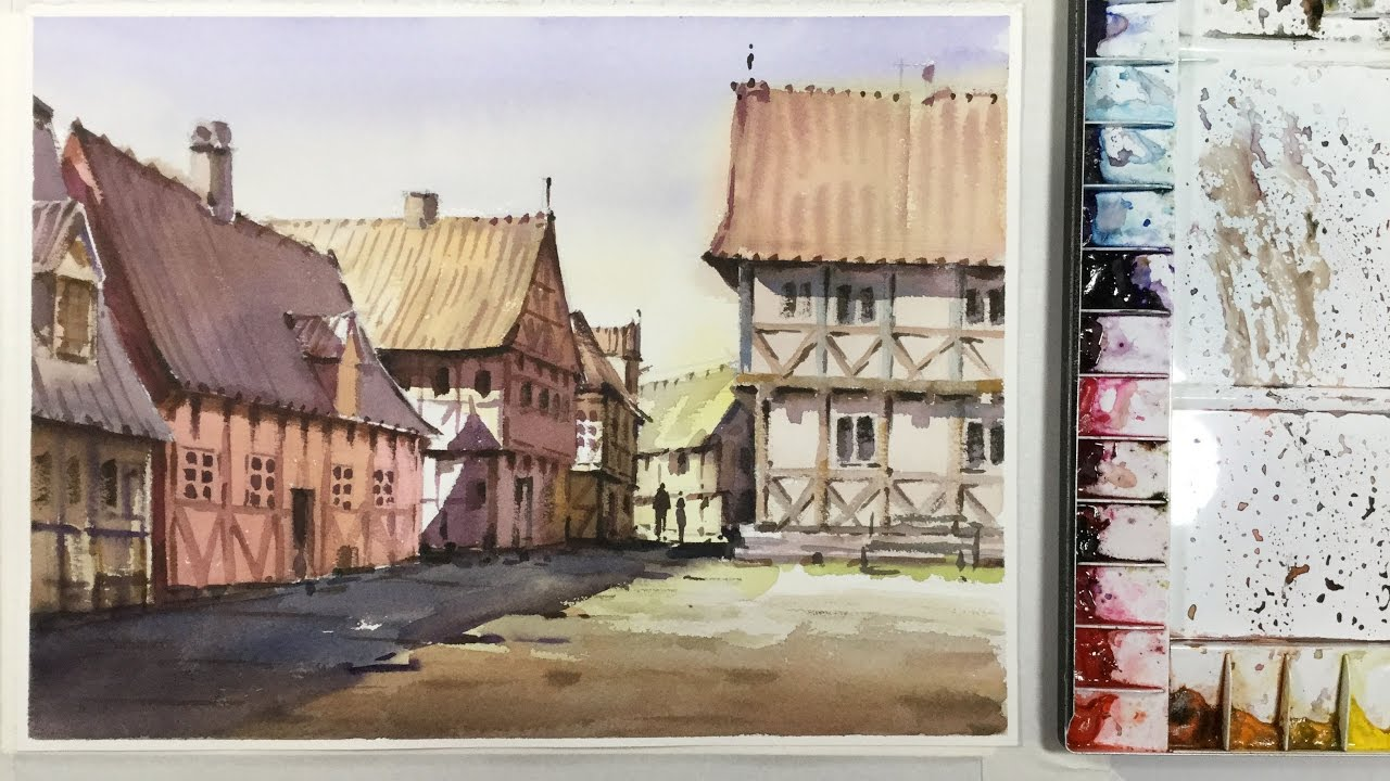 watercolor painting the old town aarhus youtube. Black Bedroom Furniture Sets. Home Design Ideas