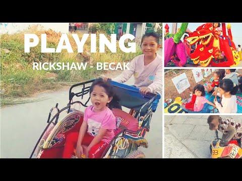 Naik Becak Mewarnai Topeng Monyet Play Rickshaw Coloring
