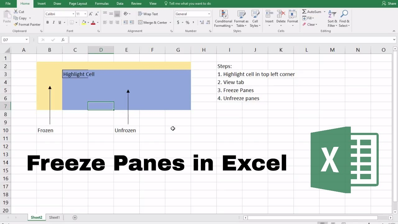 How to freeze panes in excel youtube how to freeze panes in excel ccuart Images