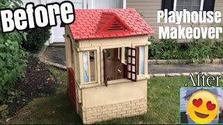 DIY Playhouse Makeover BEFORE and AFTER | Little Tikes Playhouse