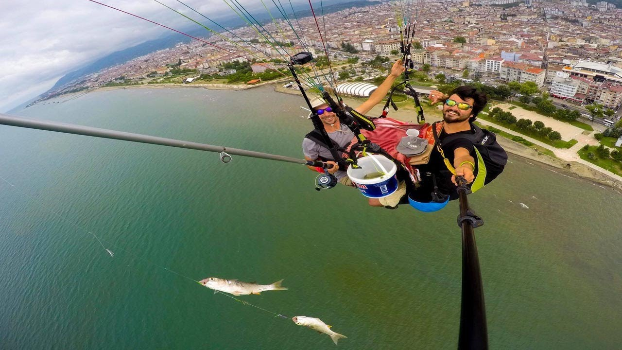 Tandem Paragliders Fish 500 Feet In The Air
