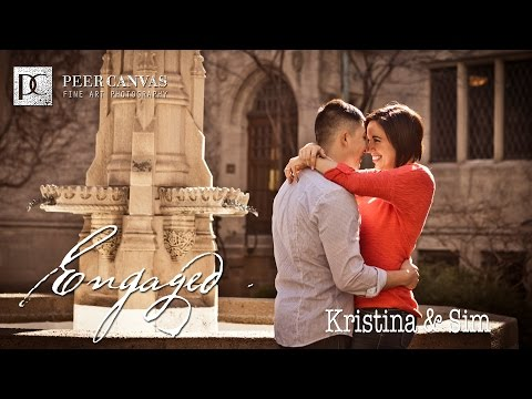 Engagement downtown Chicago Water tower place Kristina Sim peer canvas photographer