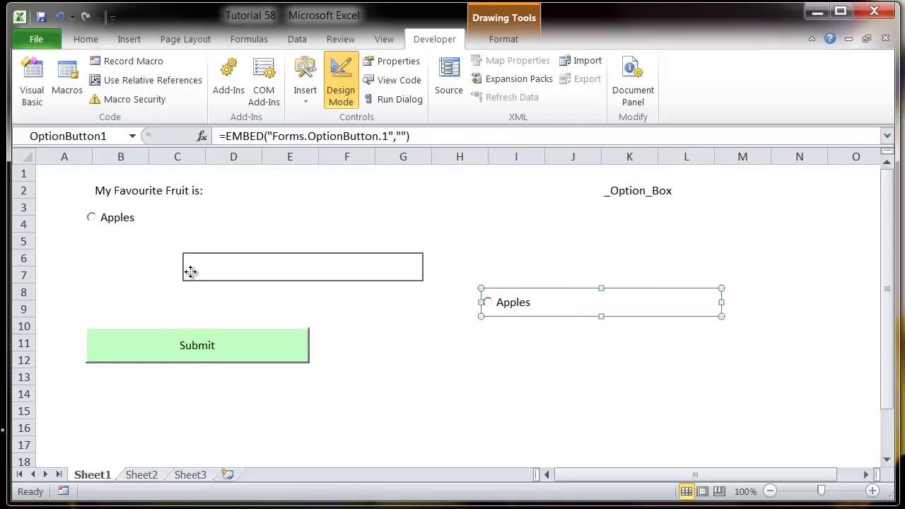 Excel 2010 VBA Tutorial 59 ActiveX Controls Option Button