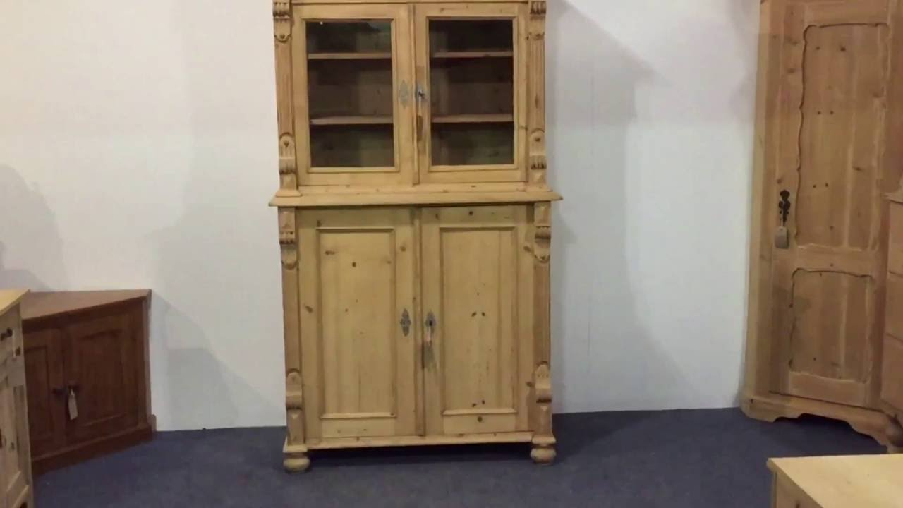 Antique pine partly glazed cupboard for sale - Pinefinders Old Pine  Furniture Warehouse - Antique Pine Partly Glazed Cupboard For Sale - Pinefinders Old Pine