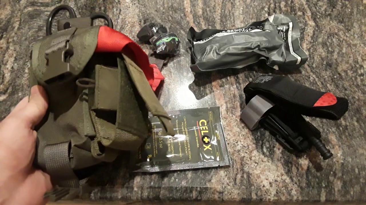Basic Trauma Kit for EDC, Wilderness, or SHTF - HSGI Bleeder/Blowout Pouch