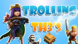 Clash of Clans trolling town hall 3s!!! Win with just lighting spells. troll playlist in description