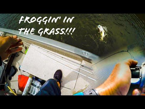 Froggin' For BIG BASS In SHORELINE   GRASS At Lake Chesdin!!! (EXPLOSIVE BLOWUPS!!!!)
