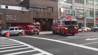 FDNY Engine 54, Ladder 4 & Battalion Chief 9 Responding Out Of Their Fire House In Midtown Manhattan