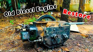 Fully Restoration Antique Very Old Diesel Engine | Restore rusty Antique Diesel Engine