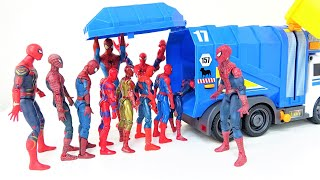 Various Spiderman Dive into the Garbage Truck! Marvel Superheroes Fall into the Big Hole!