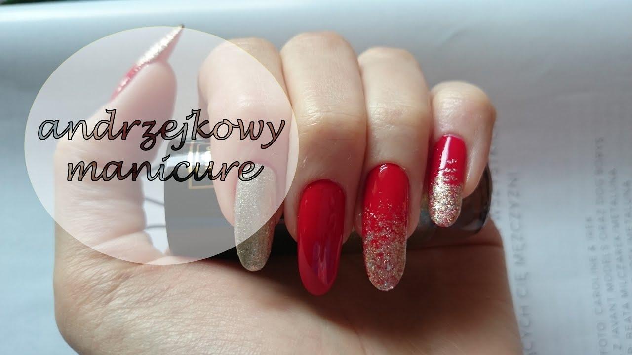 Czerwono Zloty Manicure Andrzejkowy Manicure Gold Ombre
