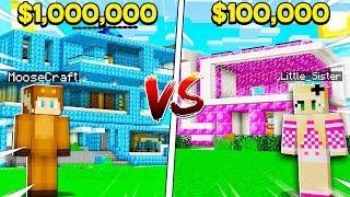 BOY vs GIRL $1,000,000 MODERN HOUSE CHALLENGE in Minecraft! (Brother vs Sister)