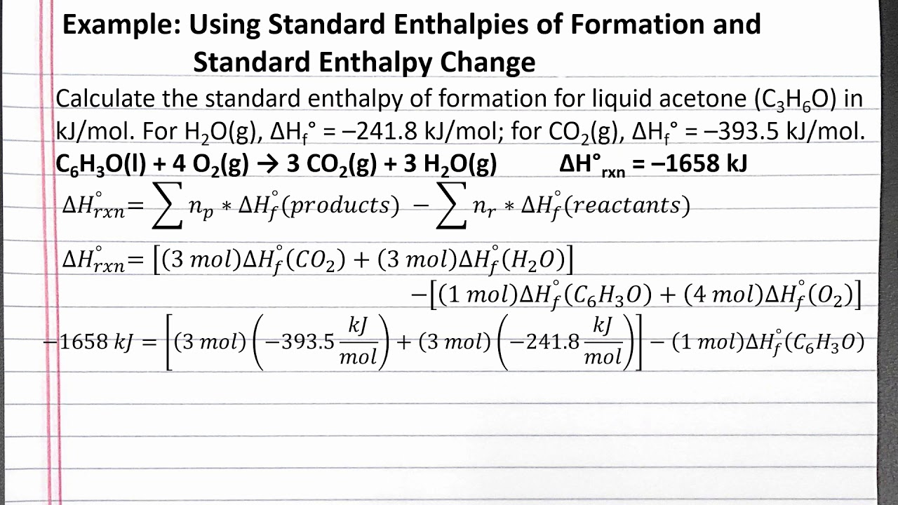 CHEM 101 - Using Standard Enthalpies of Formation and ...