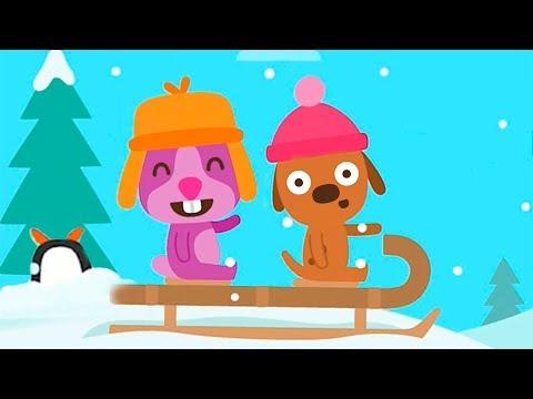 САГО МИНИ МАЛЫШИ гуляют на санках в снежный день | Игра для самых маленьких