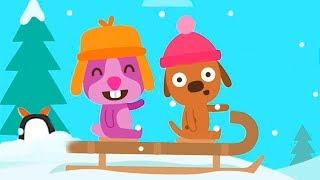 САГО МИНИ. МАЛЫШИ гуляют на санках в снежный день. Игра для самых маленьких