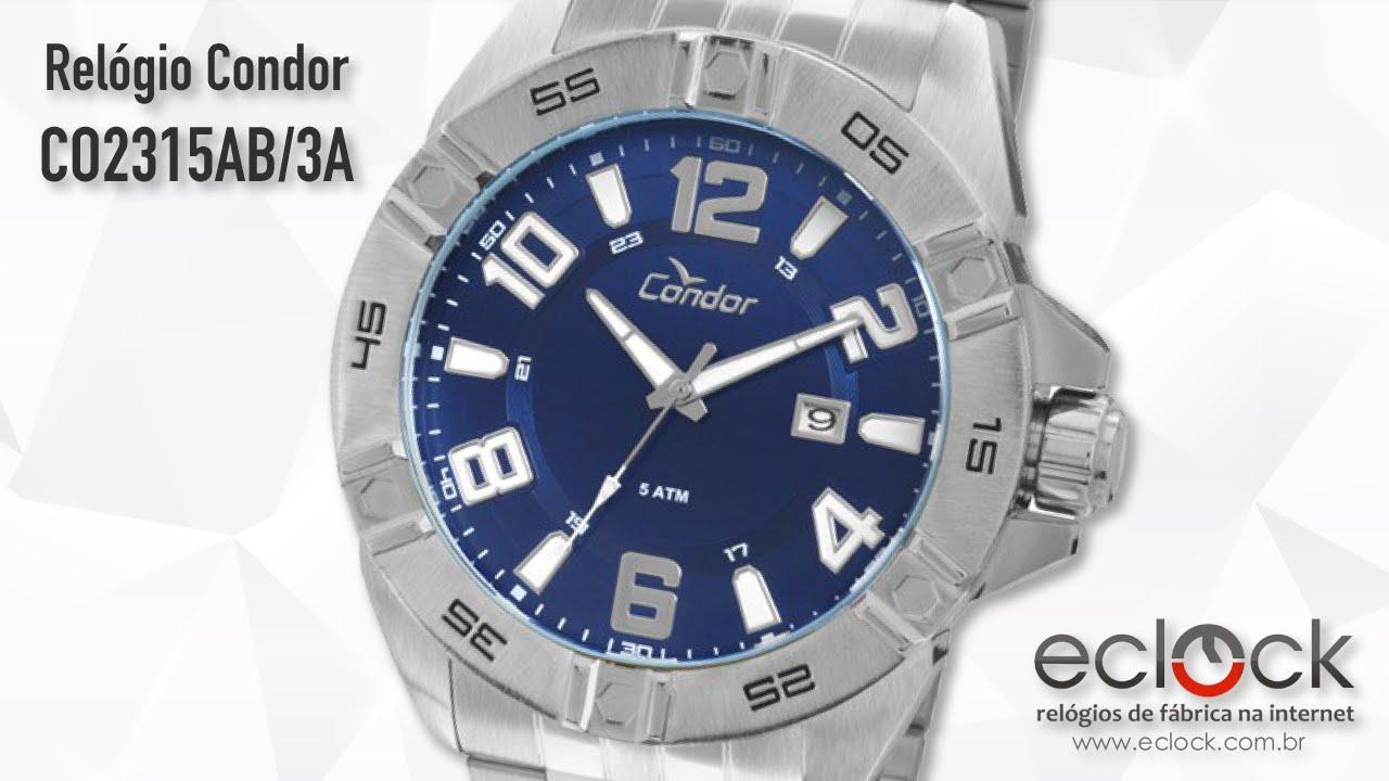 7876a0d9c2af9 Relógio Condor Masculino CO2315AB 3A - Eclock - YouTube