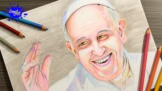 DRAWING POPE FRANCIS IN COLOMBIA/ How to draw pope francis /Como dibujar al papa francisco