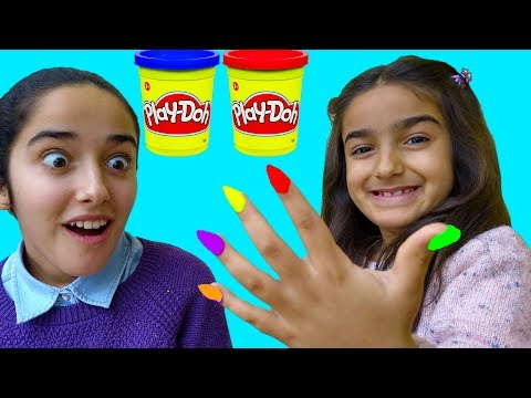 Esma and Asya pretend play with play doh nails fun kid video
