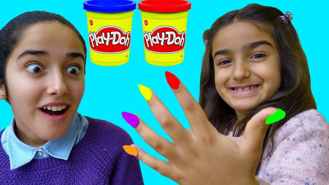 Download Esma and Asya pretend play with play doh nails fun kid video