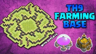 TH9 RESOURCE FARMING BASE WITH REPLAYS(PROOF) - Clash Of Clans