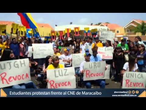 Estudiantes exigen planilla para revocatorio frente al CNE de Maracaibo