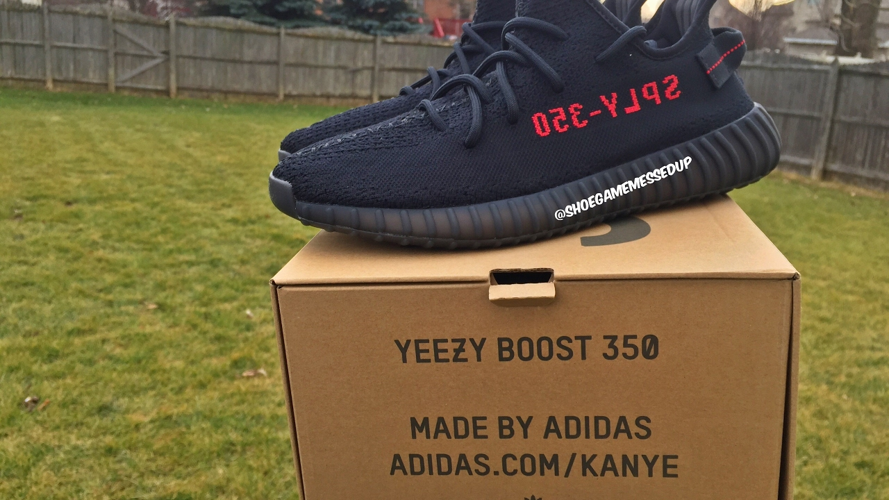 658c5b2b3d7 Adidas Yeezy 350 Boost V2 Bred   Black Red (Unboxing)   (Review) (HD ...