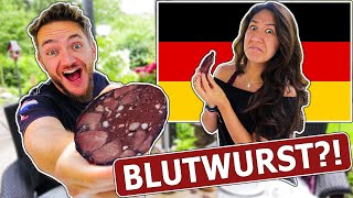 American Girlfriend Tries BLOOD SAUSAGE in Germany (BLUTWURST)