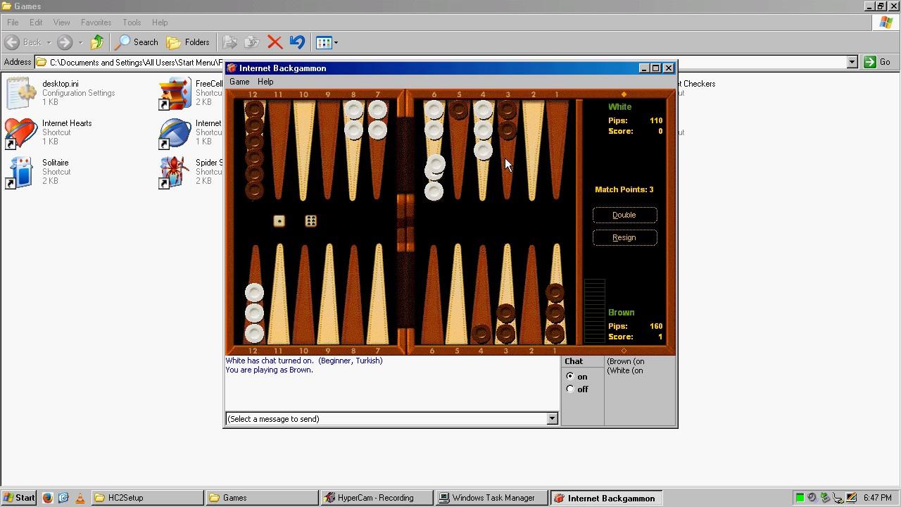 Windows Xp Internet Backgammon Gameplay Recorded April 08 2017