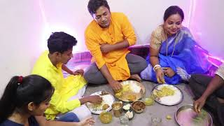 Jamai Shasti Special Eating Show   Rice with Mutton Curry   Katla Fish Kalia   Sweet   Curd