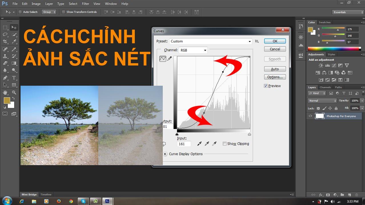 Photoshop cs6: Chỉnh sửa màu sắc-độ nét bằng lệnh levels và curve
