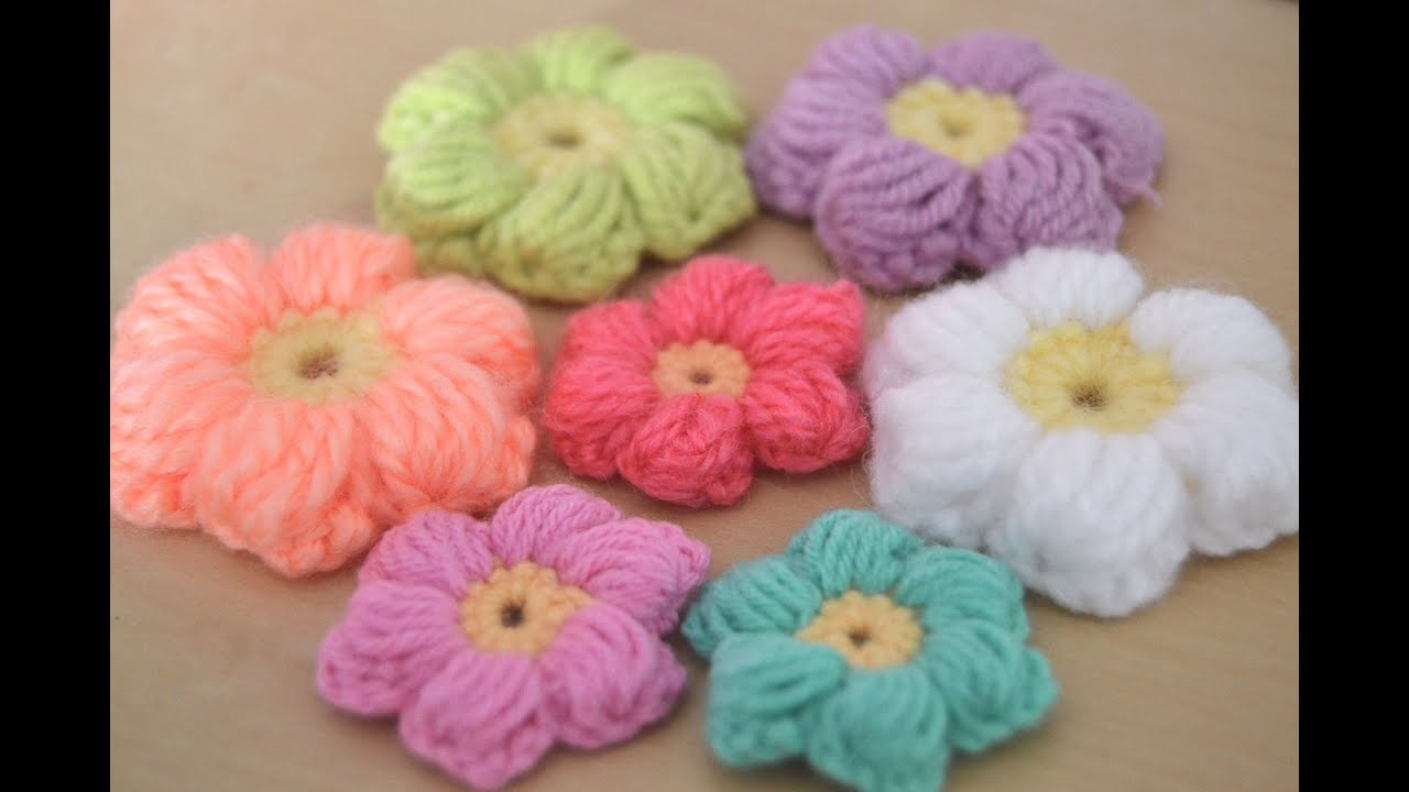 Crochet : Flores puff (intermedio) - YouTube