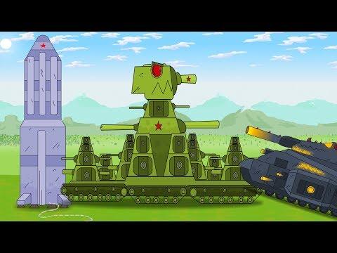 Tanques KB-44 vuela en un cohete hacia el espacio. Tanques de guerra dibujos animados.