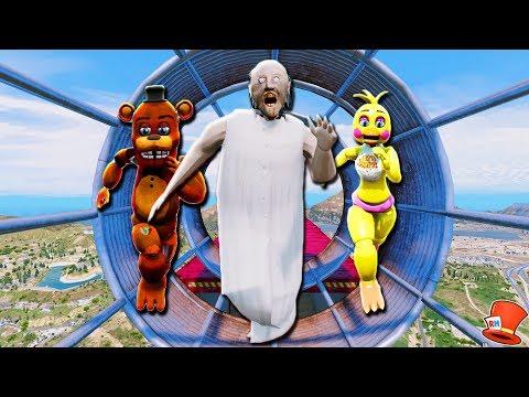 ULTIMATE GRANNY & ANIMATRONIC DEATHRUN! (GTA 5 Mods For Kids FNAF RedHatter)