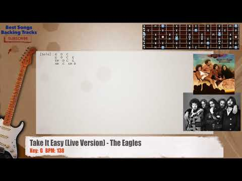 Take It Easy (Live Version) - The Eagles Guitar Backing Track with chords and lyrics