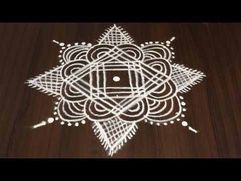 INDIAN TRADITIONAL ART RANGOLI WITH 5 TO 5 DOTS | MODERN ART KOLAM