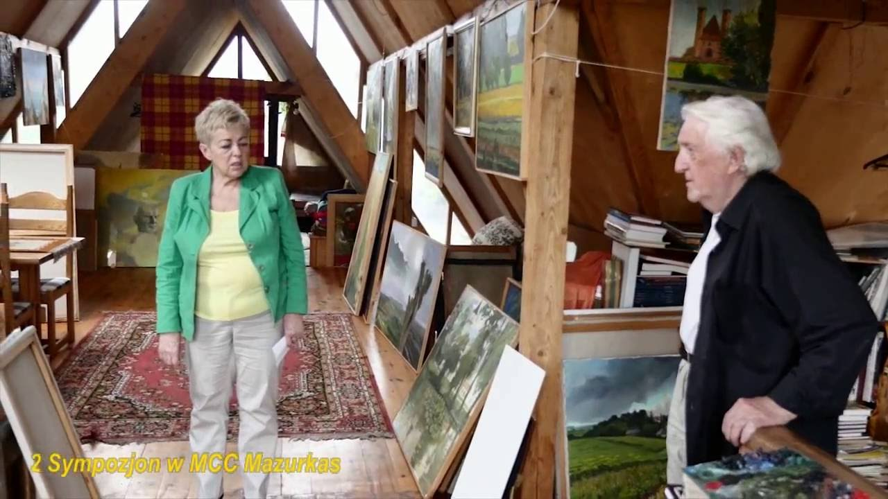 2 Sympozjon w Mazurkasie - poczatek-projekcja filmu o  malarzu Alojzym Balcerzaku