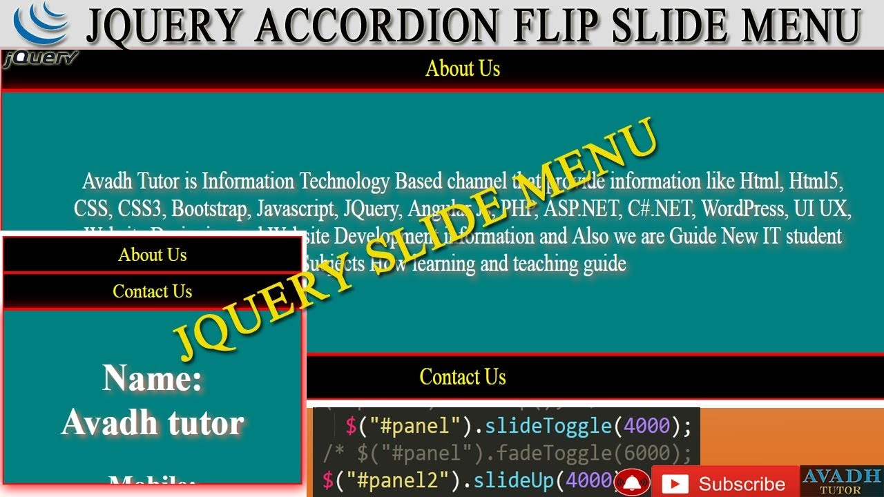 Jquery Slide toggle animation Click on text Then Display More text Using  Jquery || accordion menu