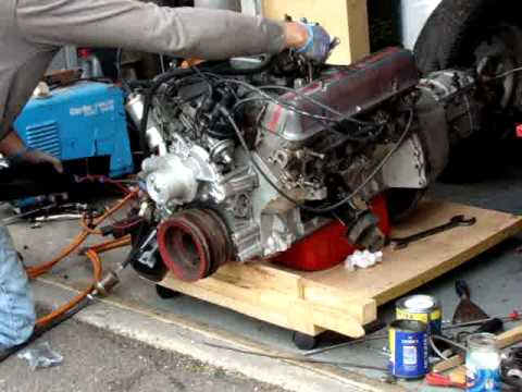 Rover V8 Engine Started On The Floor Holley Offenhauser And