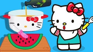 Fun Kitchen Hello Kitty Games - Children Learn Lunchtime Recipes - Kitchen Kids Game
