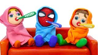 SUPERHERO BABIES HAD A TRIPLETS COLD 💖 Play Doh Cartoons For Kids
