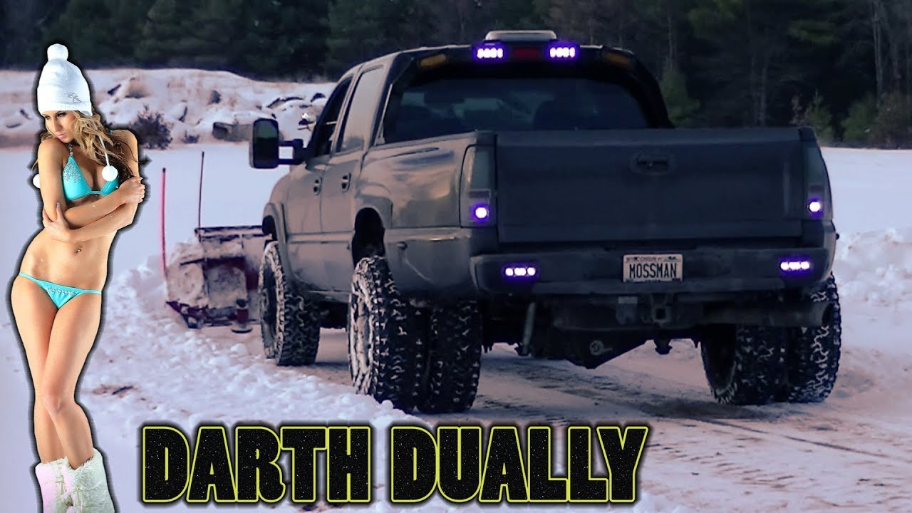 "Dodge Ram 3500 Dually >> Darth Dually Pushing Snow ""Plowing with the Western Pro Plow Custom Wings"" - YouTube"