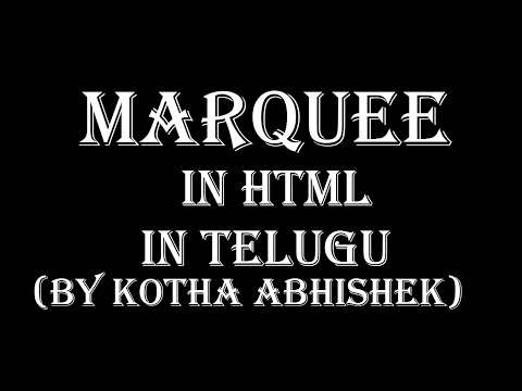 How To Use Marquee Tag In Html In Telugu