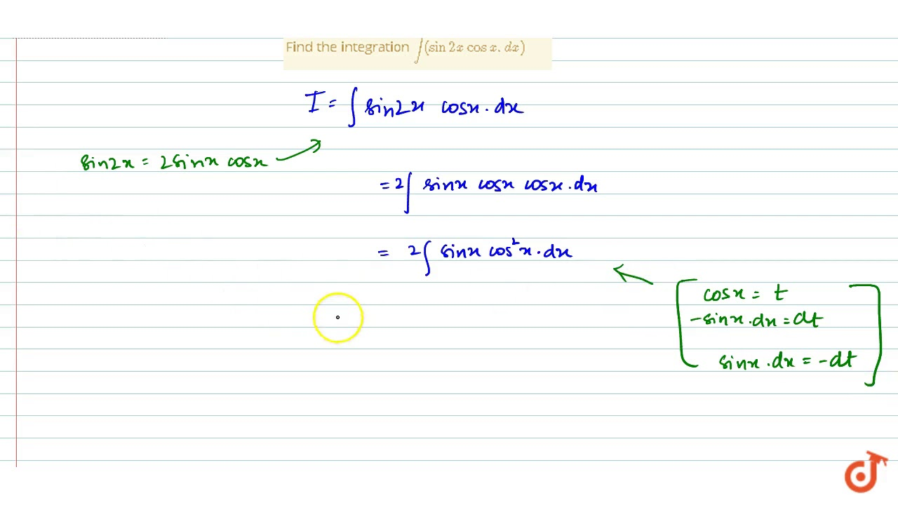 Find the integration `int(sin2x cosx.dx)` - YouTube