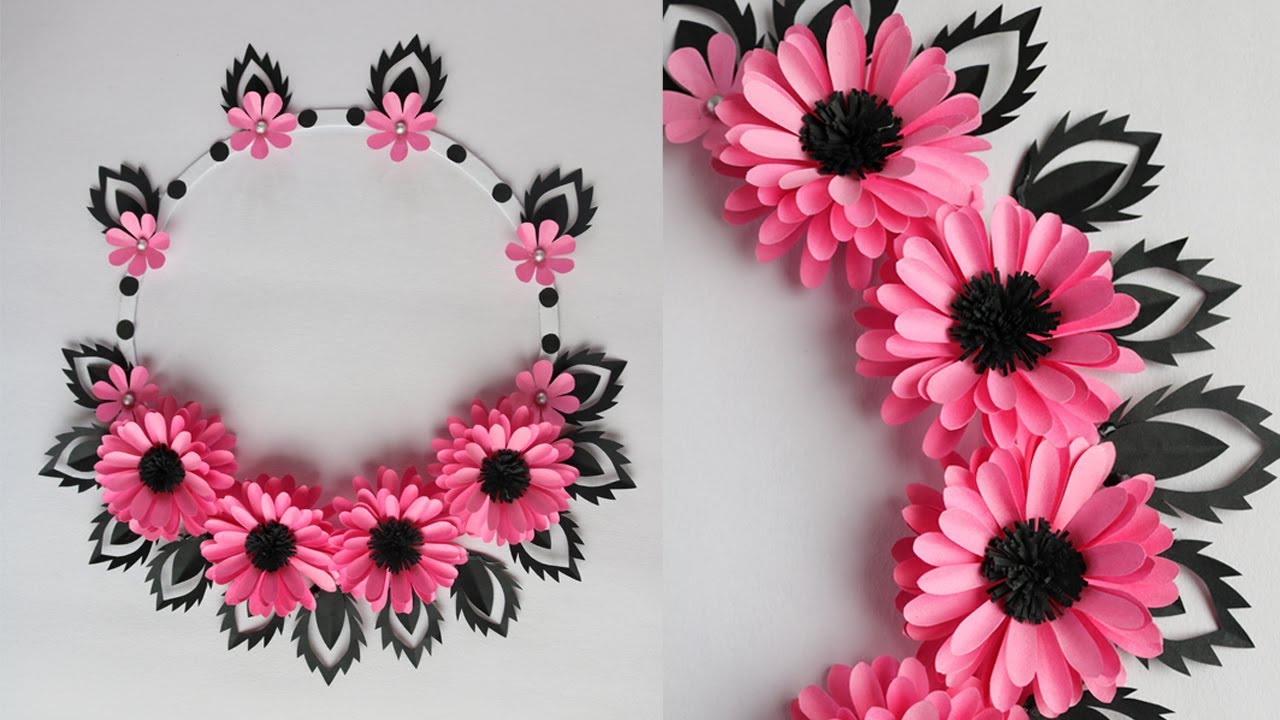 Paper Flower Wall Hanging - Easy Wall Decoration Ideas - Paper craft -DIY wall Decor