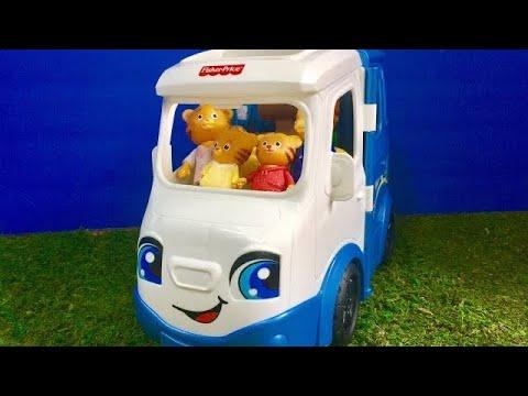 CAMPING in Talking Fisher Price Van with DANIEL TIGERS NEIGHBOURHOOD Toys!