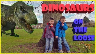 Dinosaurs on the Loose - Jurassic fantastic adventure family movie. Green screen dino breakout