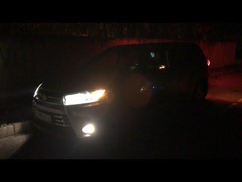 Toyota Highlander ночной обзор