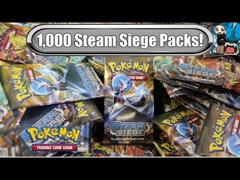 1,000 Steam Siege Pack Opening! $4,000 worth! -  Pokemon Steam Siege booster box x27