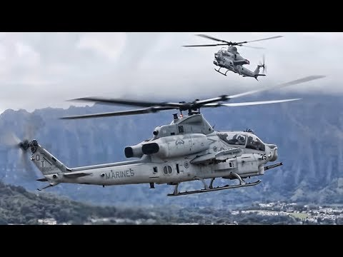 AH-1Z Viper Helicopters Land At Kaneohe Bay In Hawaii